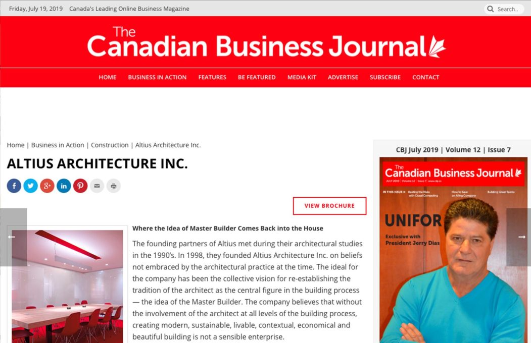 Altius Architecture in the Canadian Business Journal