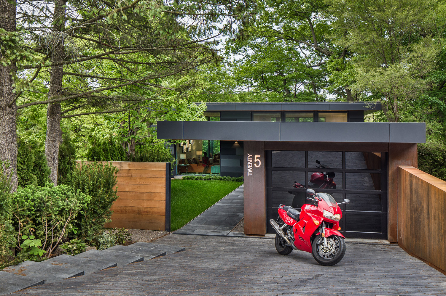 High Park Toronto contemporary home with Corten steel siding and zinc fascia