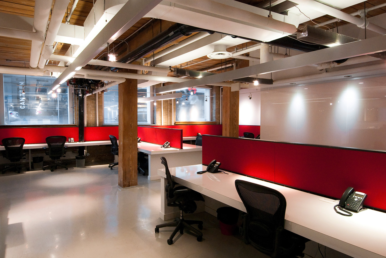 Open office space in Timber framed Toronto office building