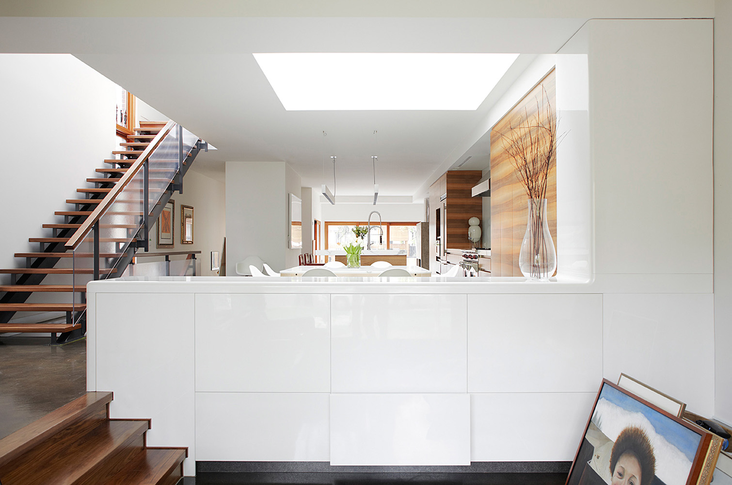 Toronto contemporary home with skylights providing natural light.