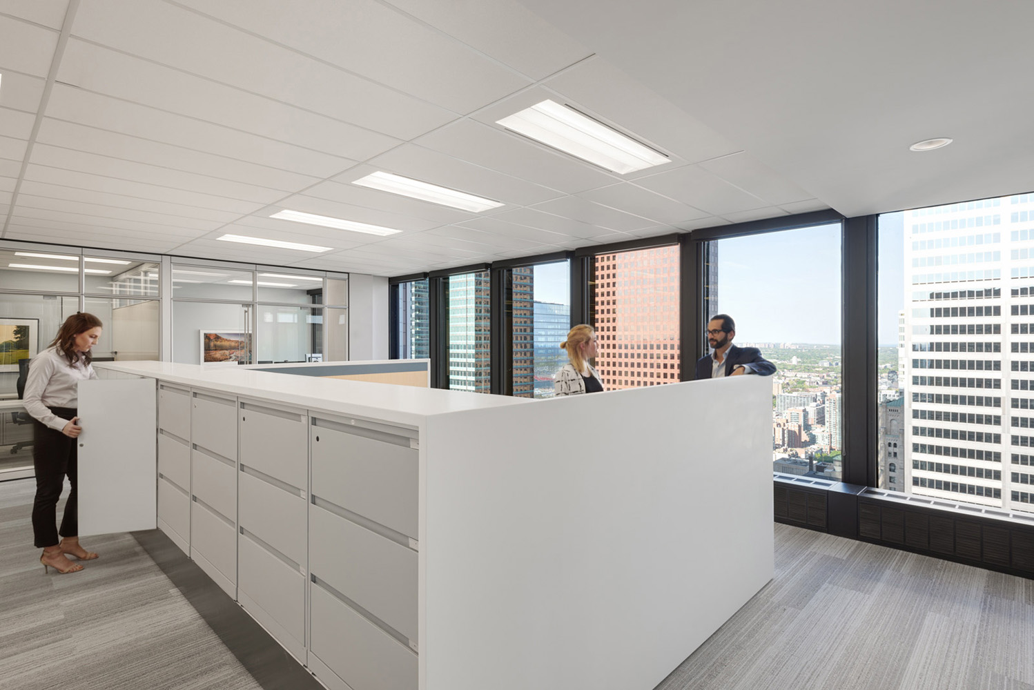 Office file storage and desks custom built with panoramic view of Toronto Ontario downtown