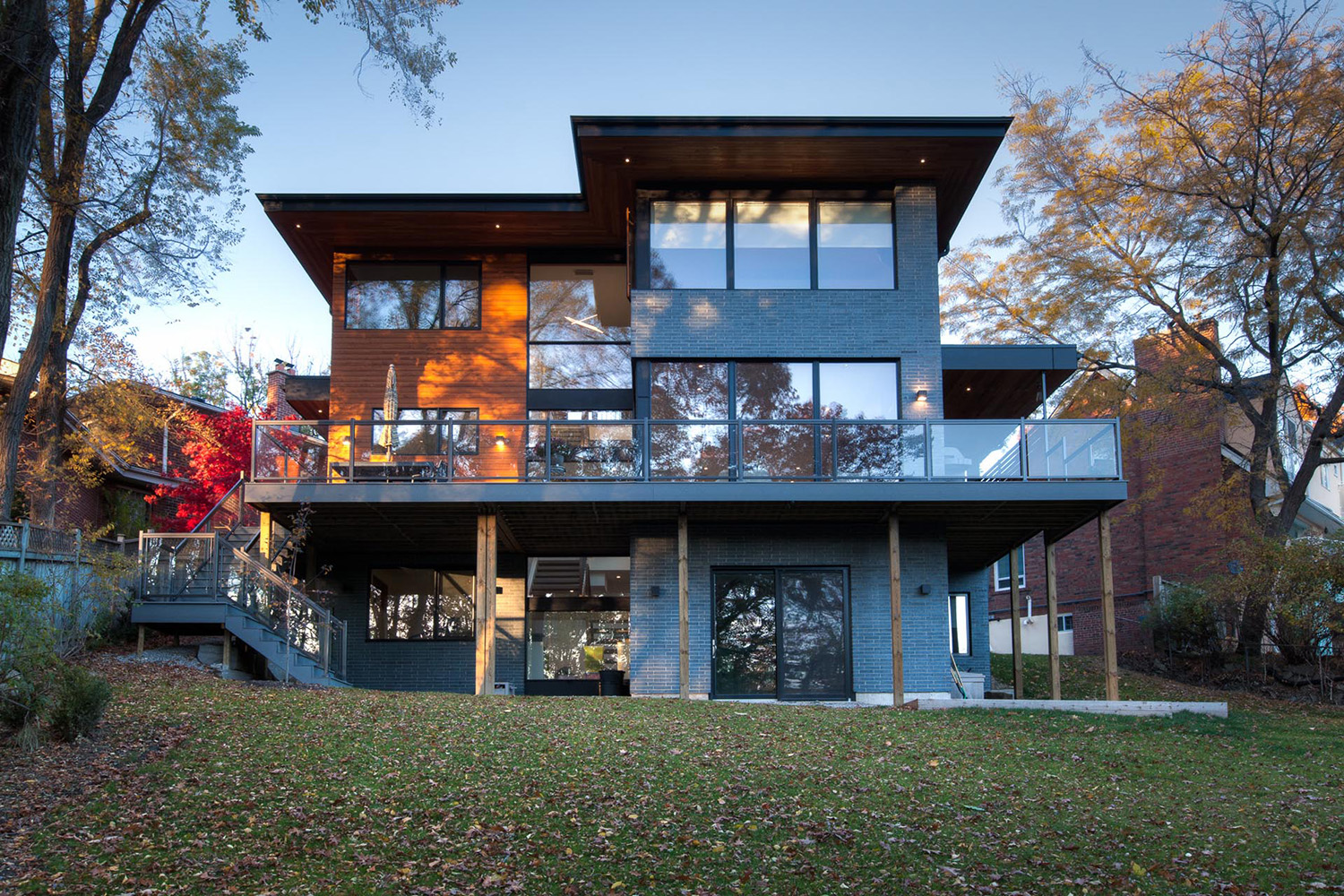 View of contemporary Etobicoke home from Mimico Creek