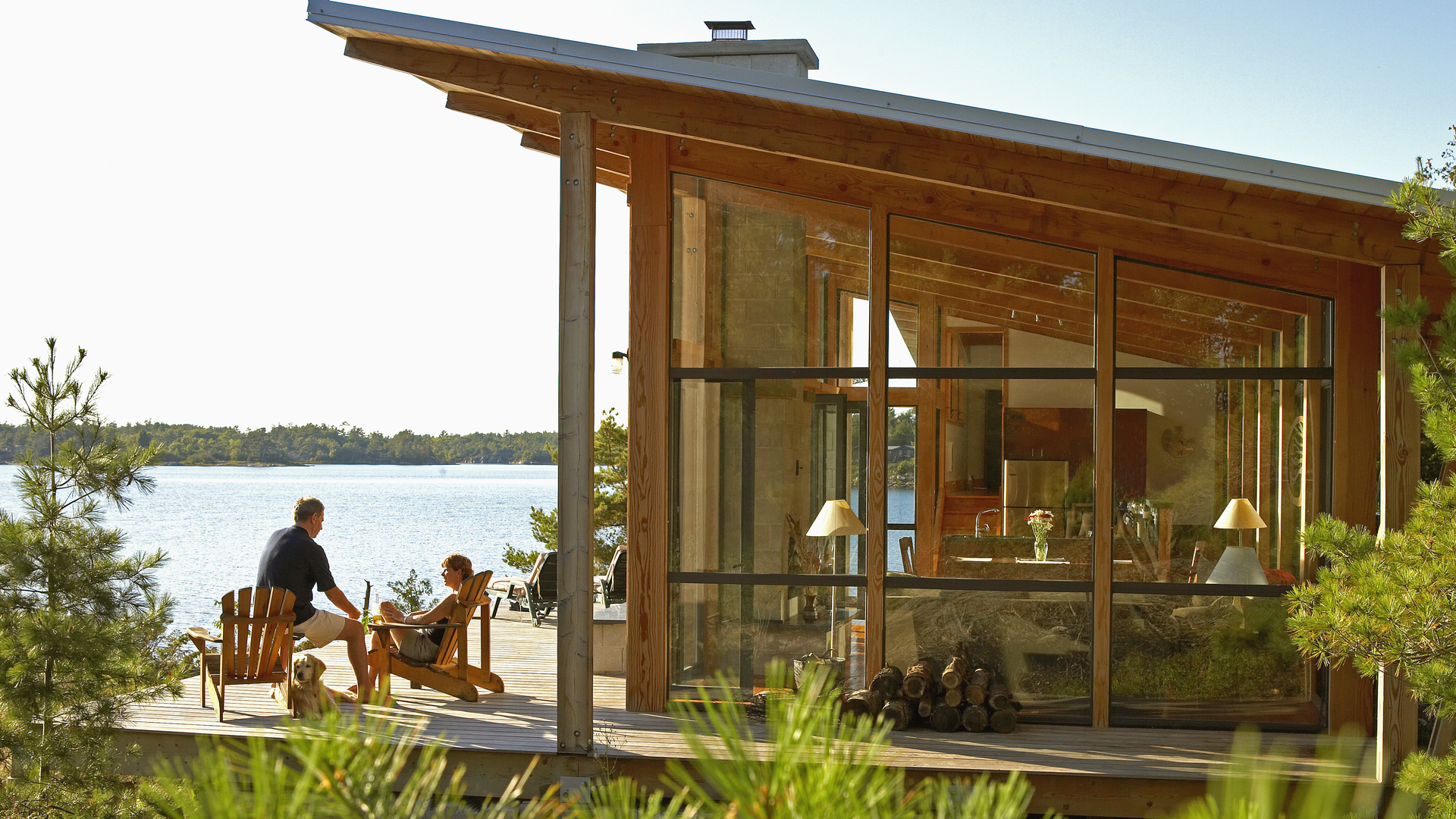 Post and Beam Georgian Bay cottage with wide views of the natural surroundings and water