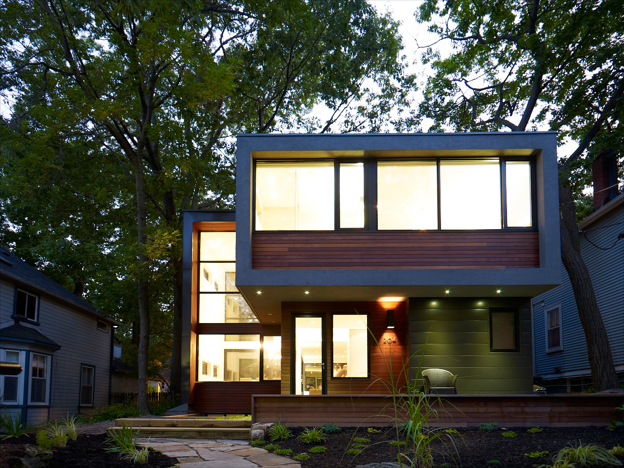 Toronto Beaches home with modern facade and accessible design