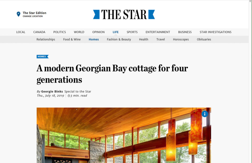 Alitus Architecture featured in the Toronto Star for Georgian Bay cottage for four generations of residents