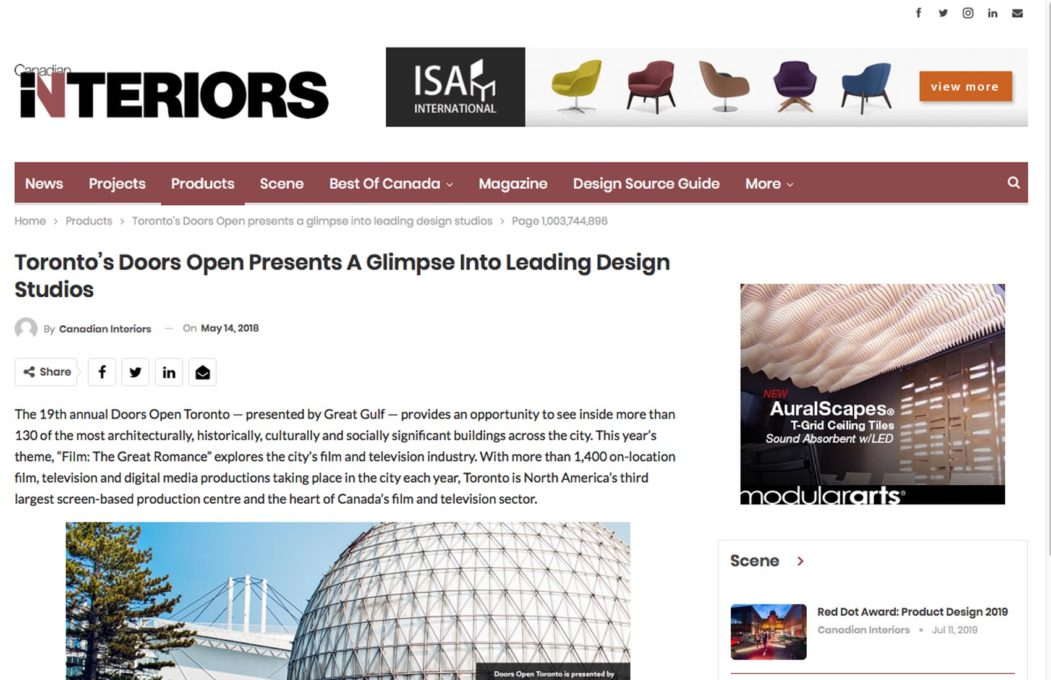 Altius Architecture at doors open on Canadian Interiors
