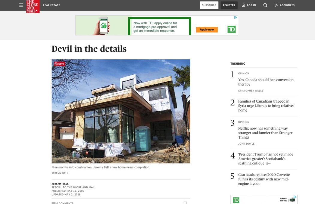 Altius Architecture in Globe and Mail for architecture of house