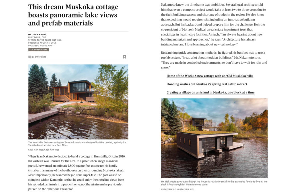 Altius Architecture featured in Globe and Mail for Fairy Lake Nakamoto Project written by Matthew Hague